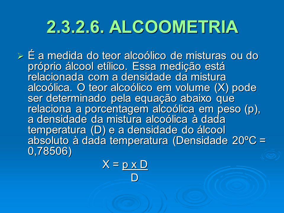 2.3.2.6. ALCOOMETRIA É a medida do teor alcoólico de misturas ou do próprio álcool etílico. Essa medição está relacionada com a densidade da mistura a