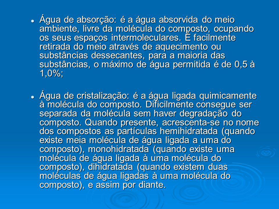Água de absorção: é a água absorvida do meio ambiente, livre da molécula do composto, ocupando os seus espaços intermoleculares. É facilmente retirada