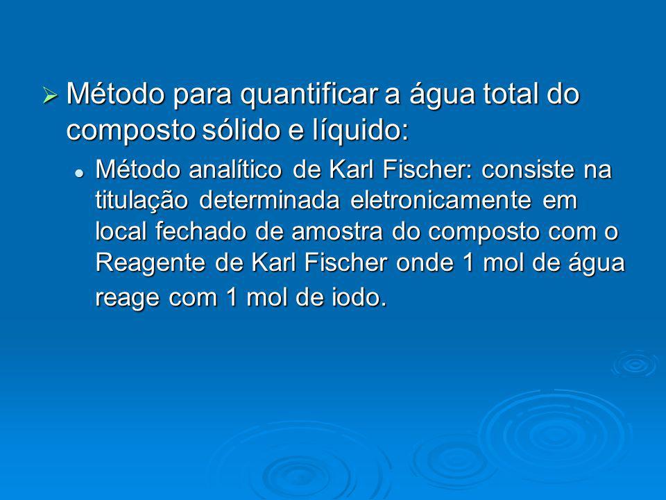 Método para quantificar a água total do composto sólido e líquido: Método para quantificar a água total do composto sólido e líquido: Método analítico