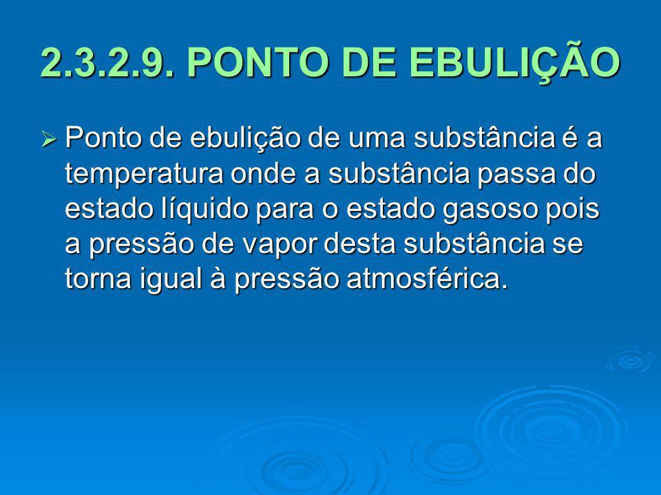 2.3.2.9. PONTO DE EBULIÇÃO Ponto de ebulição de uma substância é a temperatura onde a substância passa do estado líquido para o estado gasoso pois a p