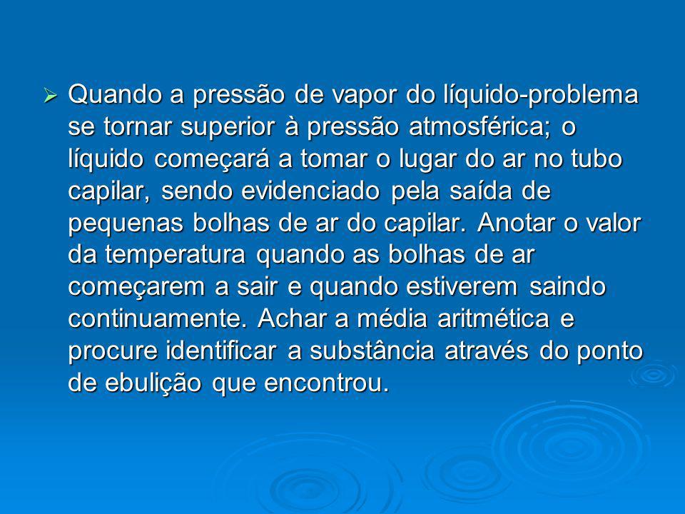 Quando a pressão de vapor do líquido-problema se tornar superior à pressão atmosférica; o líquido começará a tomar o lugar do ar no tubo capilar, send