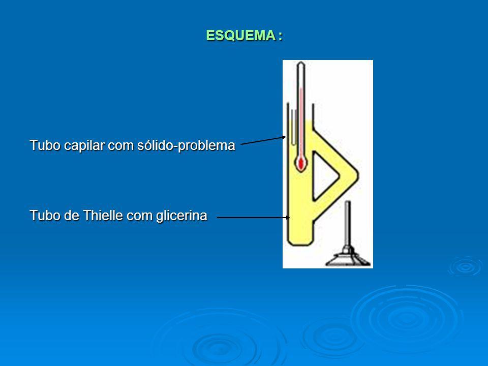 ESQUEMA : Tubo capilar com sólido-problema Tubo de Thielle com glicerina