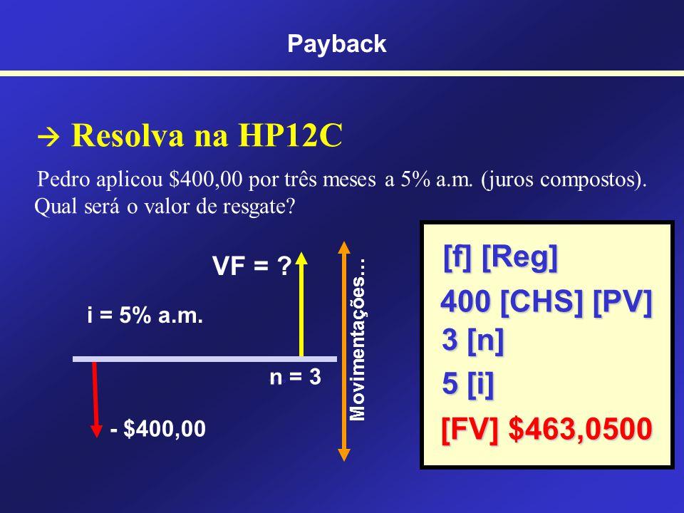 Funções Financeiras da HP12C [n] Calcula o número de períodos [i] Calcula a taxa [PV] Calcula o Valor Presente [FV] Calcula o Valor Futuro [CHS] Troca o sinal [PMT] Calcula a Prestação Payback