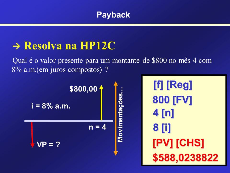 Resolva na HP12C Pedro aplicou $400,00 por três meses a 5% a.m.