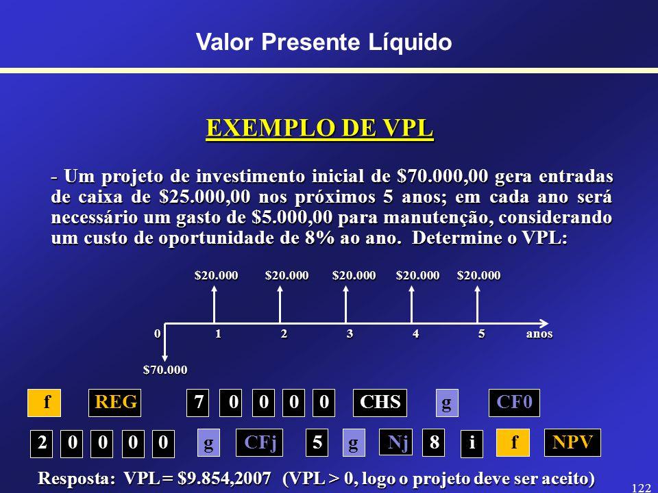 121 DEFINIÇÃO DE VPL O VPL (Valor Presente Líquido) é o valor presente das entradas ou saídas de caixa menos o investimento inicial.