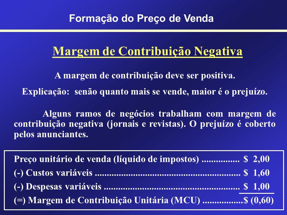 Formação do Preço de Venda Margem de Contribuição É o valor resultante das vendas (líquidas de impostos) deduzidas dos CDVs.