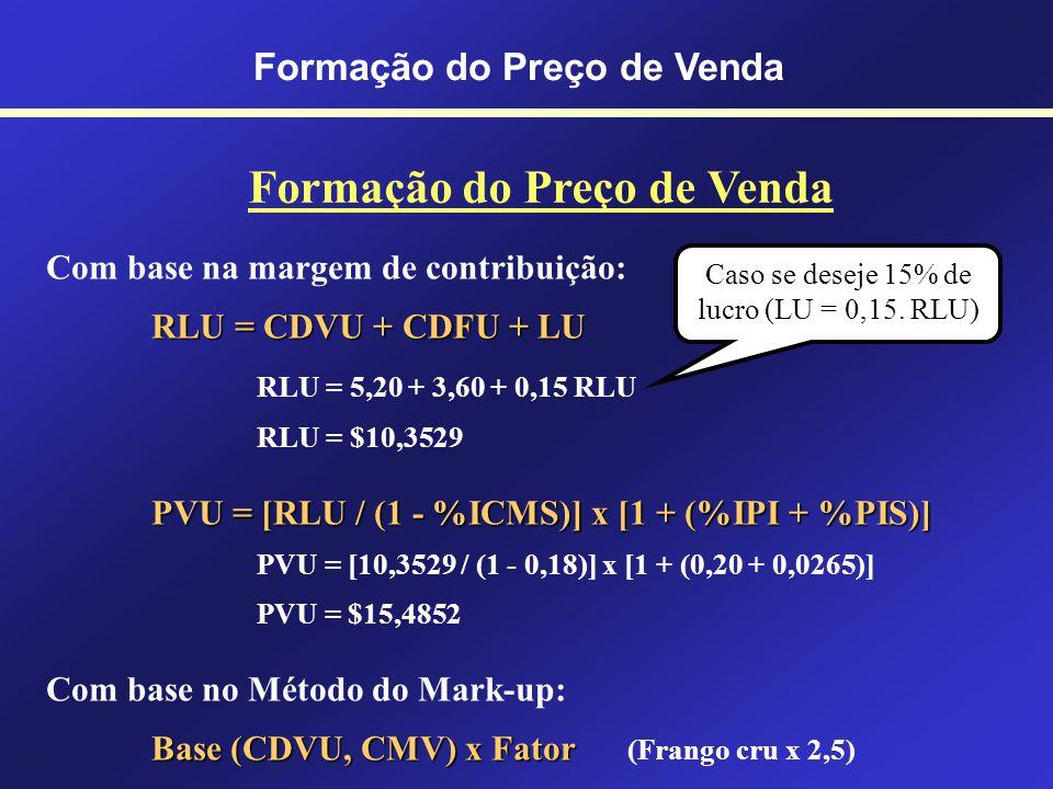 COM BASE NOS CUSTOS RLU = CDVU + CDFU + LU RLU = Receita Líquida Unitária CDVU = Custos e Despesas Variáveis Unitárias CDFU = Custos e Despesas Fixas Unitárias LU = Lucro Unitário PVU = [RLU / (1 - %ICMS)] x [1 + (%IPI + %PIS)] PVU = Preço de Venda Unitário %ICMS, %IPI, %PIS = Alíquotas dos Impostos Formação do Preço de Venda