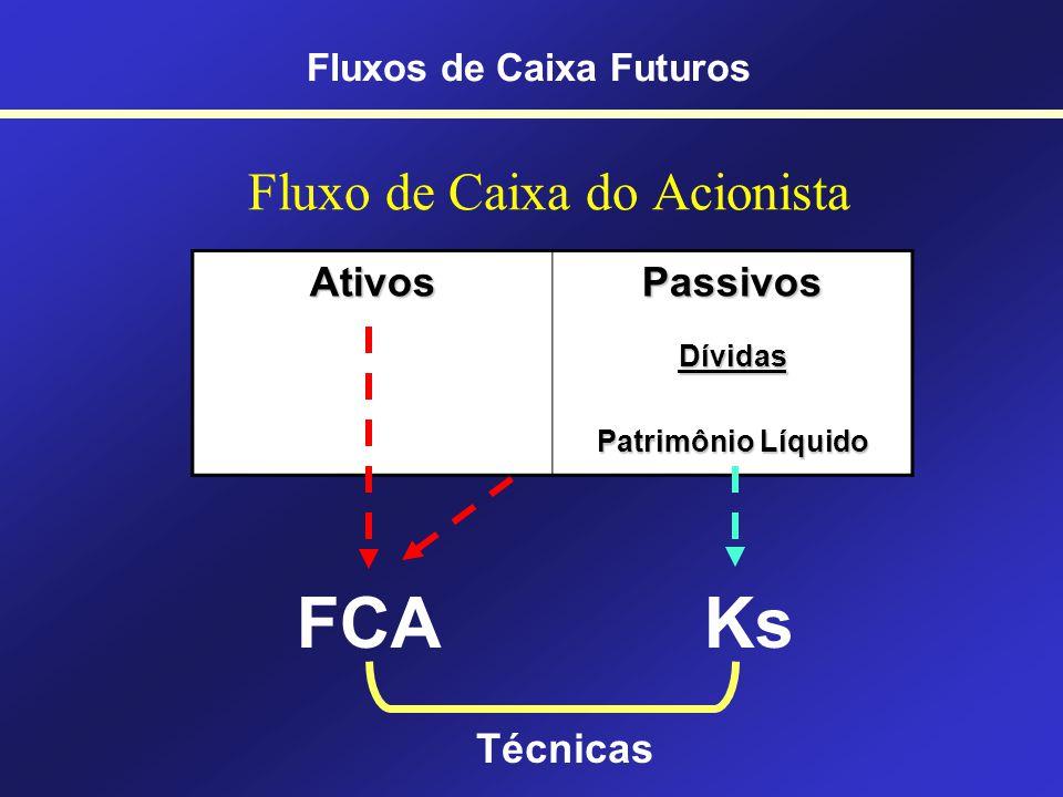 OS diferentes tipos de FCs Fluxo de caixa livre – Ganho do negócio ou das operações Fluxo de caixa do acionista – Ganho do sócio ou acionista Fluxos de Caixa Futuros