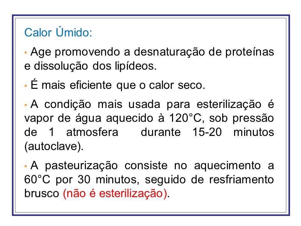 Calor Úmido: Age promovendo a desnaturação de proteínas e dissolução dos lipídeos. É mais eficiente que o calor seco. A condição mais usada para ester