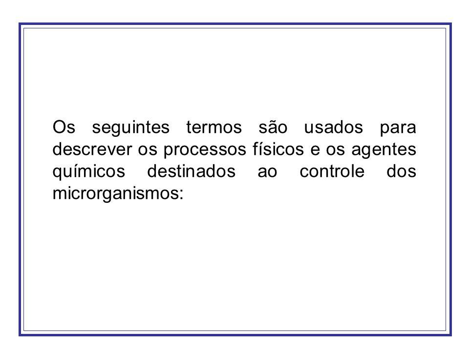 Os seguintes termos são usados para descrever os processos físicos e os agentes químicos destinados ao controle dos microrganismos:
