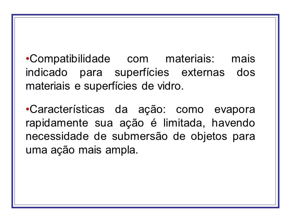 Compatibilidade com materiais: mais indicado para superfícies externas dos materiais e superfícies de vidro. Características da ação: como evapora rap