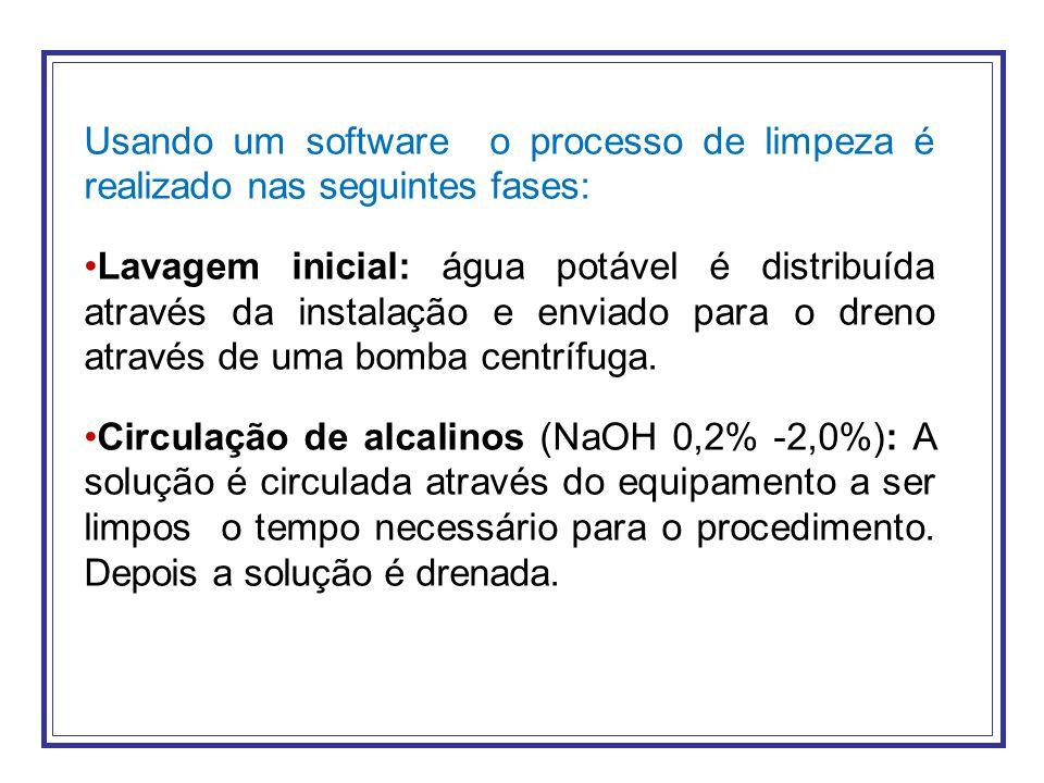 Usando um software o processo de limpeza é realizado nas seguintes fases: Lavagem inicial: água potável é distribuída através da instalação e enviado