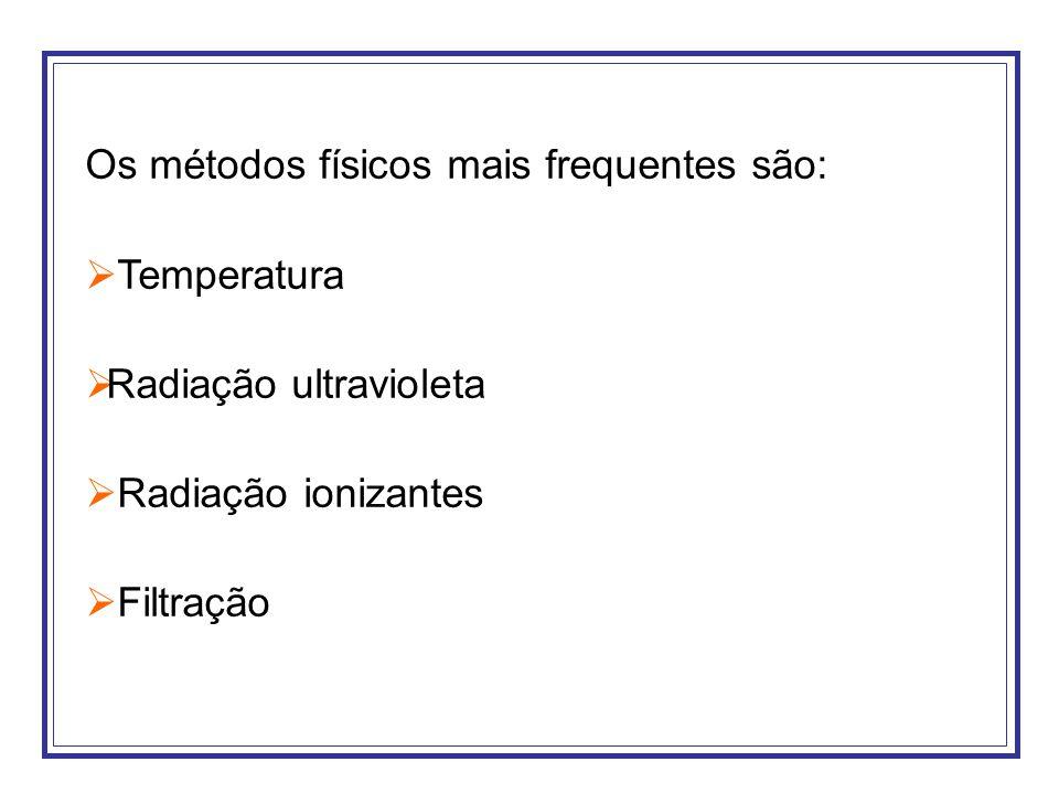 Os métodos físicos mais frequentes são: Temperatura Radiação ultravioleta Radiação ionizantes Filtração