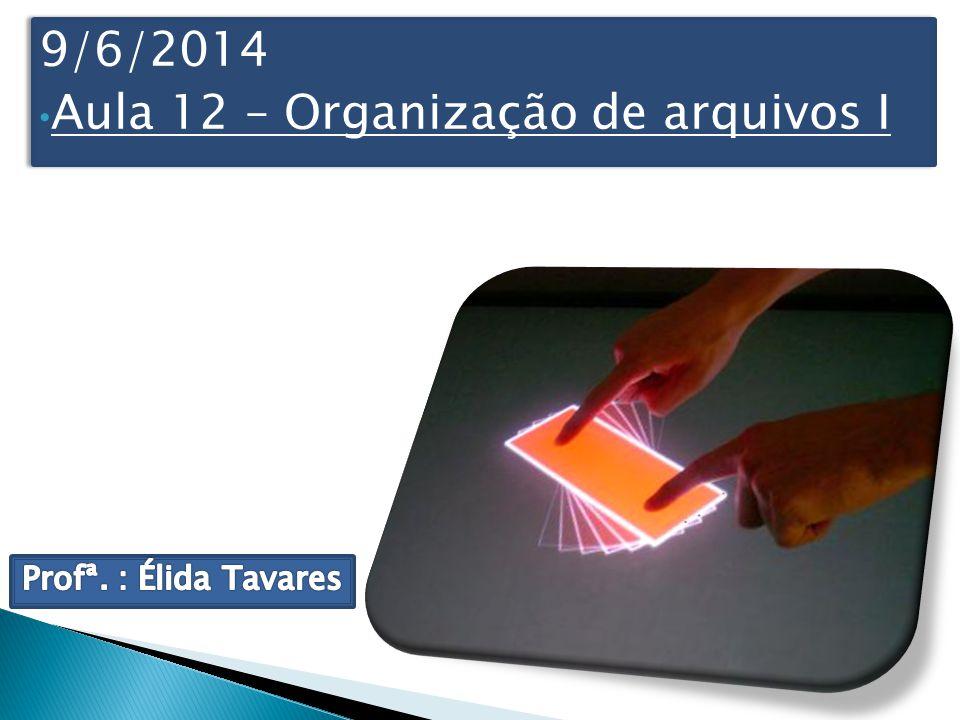 9/6/2014 Aula 12 – Organização de arquivos I 9/6/2014 Aula 12 – Organização de arquivos I