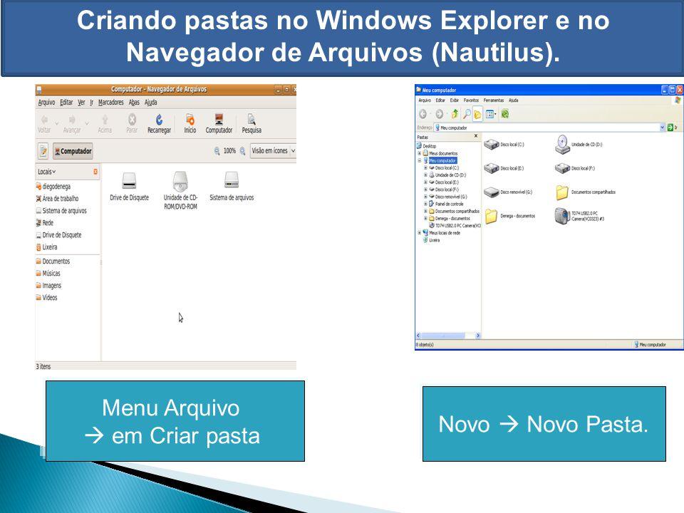 Criando pastas no Windows Explorer e no Navegador de Arquivos (Nautilus). Menu Arquivo em Criar pasta Novo Novo Pasta.
