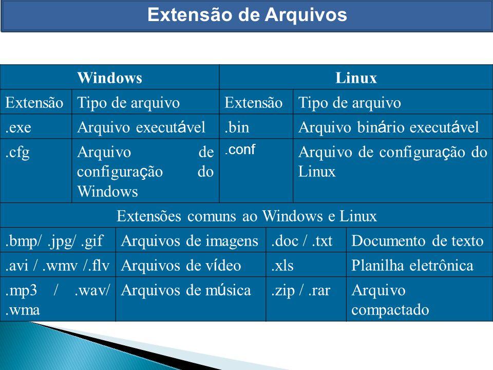 Extensão de Arquivos WindowsLinux ExtensãoTipo de arquivoExtensãoTipo de arquivo.exe Arquivo execut á vel.bin Arquivo bin á rio execut á vel.cfgArquiv