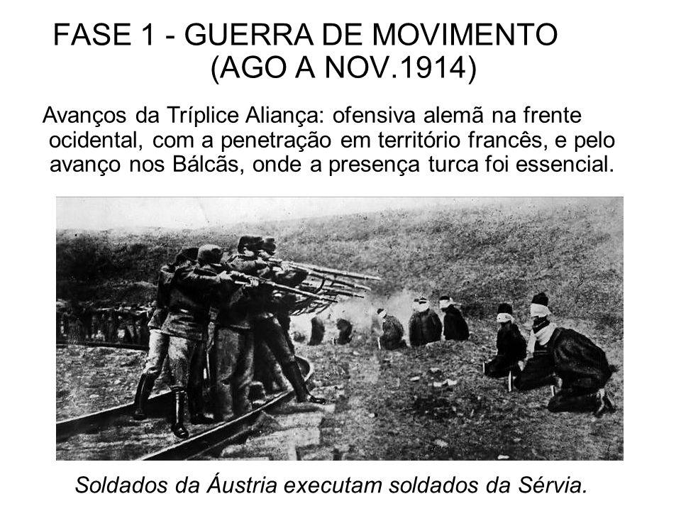 FASE 1 - GUERRA DE MOVIMENTO (AGO A NOV.1914) Avanços da Tríplice Aliança: ofensiva alemã na frente ocidental, com a penetração em território francês,