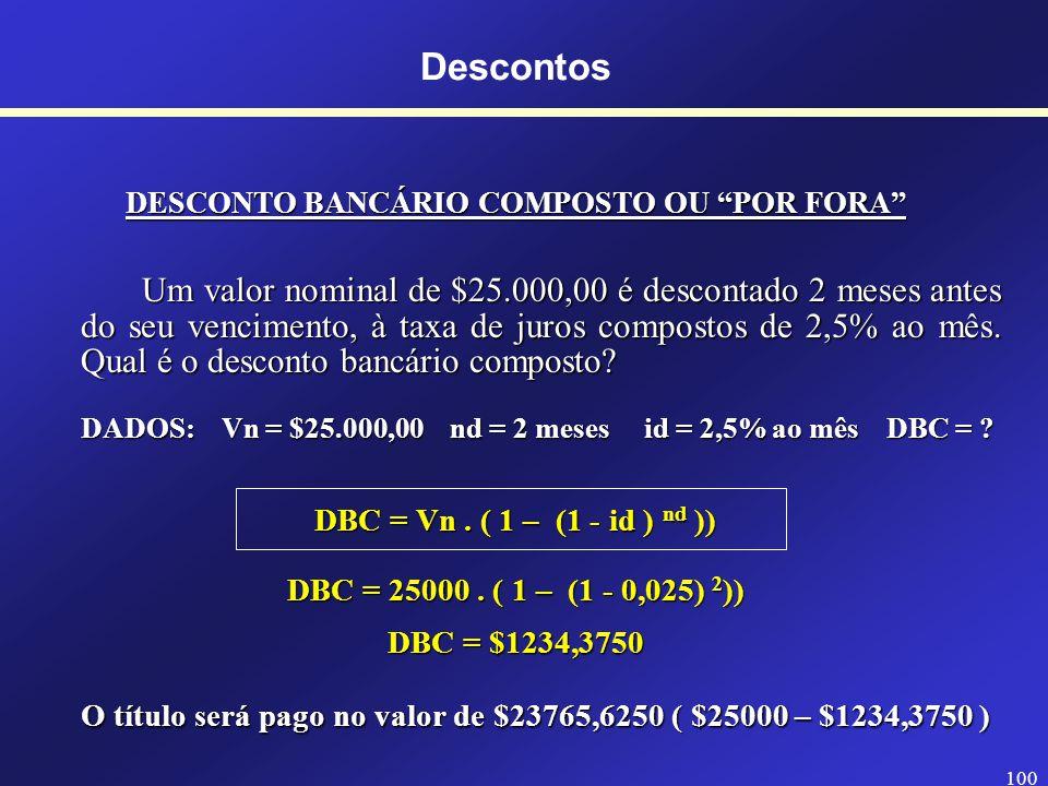 99 Descontos DESCONTO RACIONAL COMPOSTO OU POR DENTRO Um valor nominal de $25.000,00 é descontado 2 meses antes do seu vencimento, à taxa de juros compostos de 2,5% ao mês.