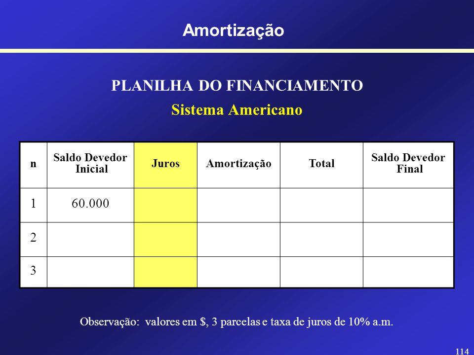 113 Amortização SISTEMA AMERICANO Taxa de juros (i) Juros Amortização Valor Presente Características: - A amortização é paga no final (com a última prestação); - Os juros são constantes (uniforme); - O valor da última prestação difere das demais.