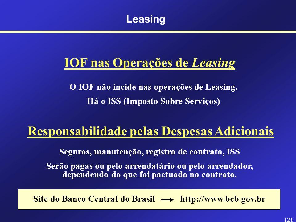 120 Leasing Prazos Mínimos de um Contrato de Leasing Não é permitida a quitaçãodo contrato de leasing antes desses prazos.