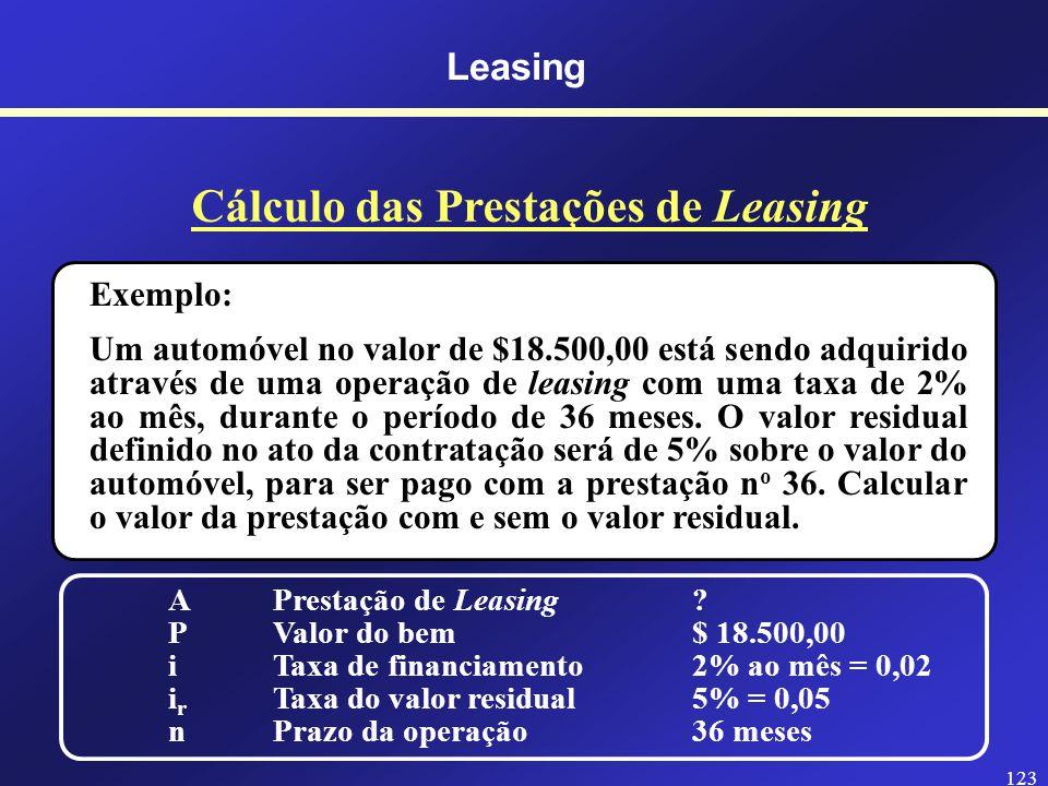 122 Leasing Cálculo das Prestações de Leasing A = Prestação de Leasing P = Valor do bem i = Taxa de financiamento i r = Taxa do valor residual n = Prazo da operação A = P - P.