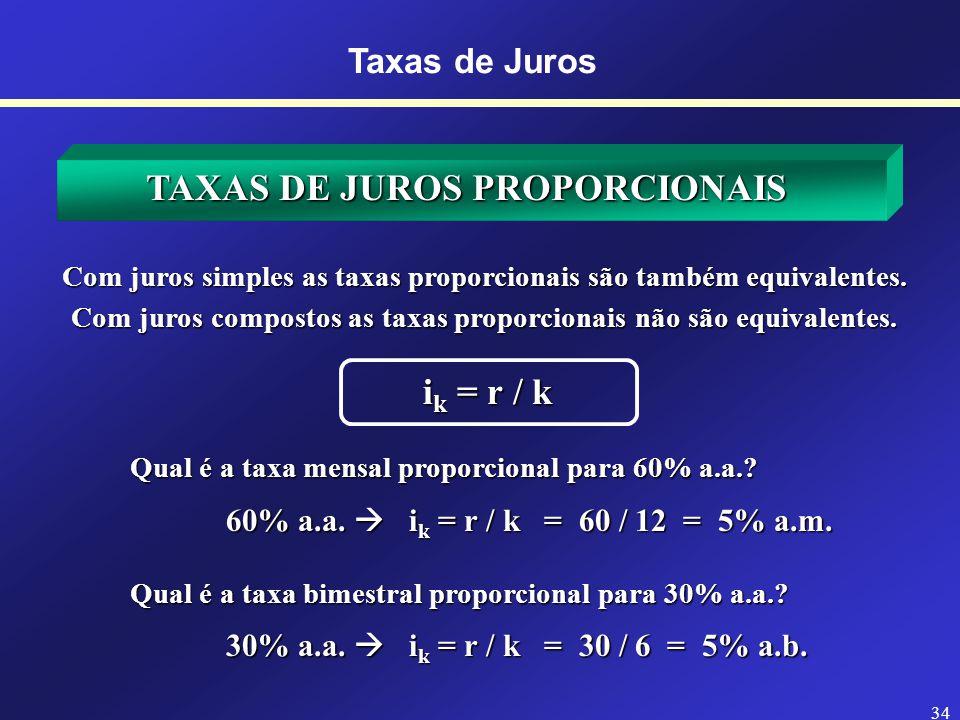 33 Taxas de Juros ESPECIFICAÇÃO DAS TAXAS DE JUROS - Taxas Proporcionais (mais empregada com juros simples) Taxas Equivalentes - Taxas Equivalentes (taxas que transformam um mesmo P em um mesmo F) - Taxas Nominais (período da taxa difere do da capitalização) - Taxas Efetivas (período da taxa coincide com o da capitalização)