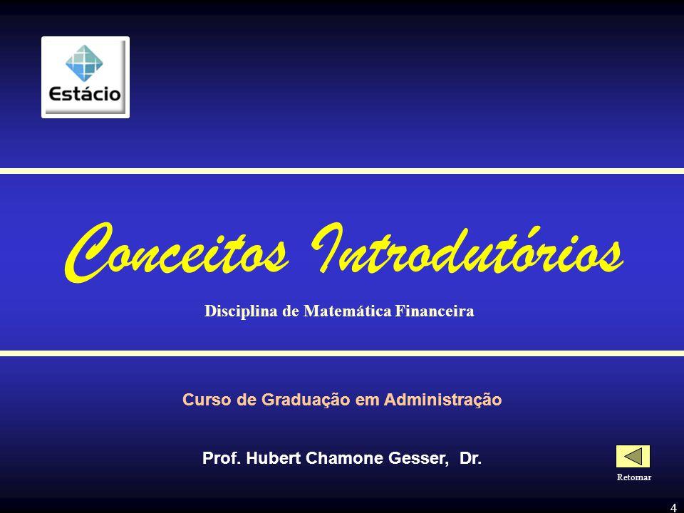 3 - SUMÁRIO - Conceitos Introdutórios Fundamentos da Matemática Financeira Diagramas de Fluxo de Caixa Taxas de Juros O Valor do Dinheiro no Tempo Anu