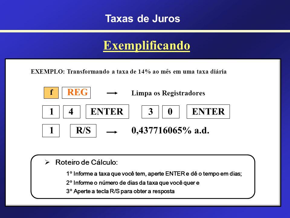 P/R Entrada no modo de programação PRGM Limpeza de programas anteriores x > y x > y 1 0 0 1 + x > y y x 1 1 0 0 X P/R Saída do modo de programação f f f Programa para Cálculo de Taxas Equivalentes na Calculadora Financeira HP-12c Cálculo de Taxas Equivalentes na HP-12c Taxas de Juros