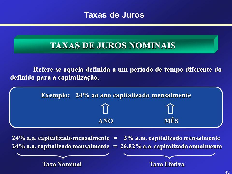 EXERCÍCIOS Faça as seguintes conversões de taxas equivalentes na HP-12C 0,055063% a.d.