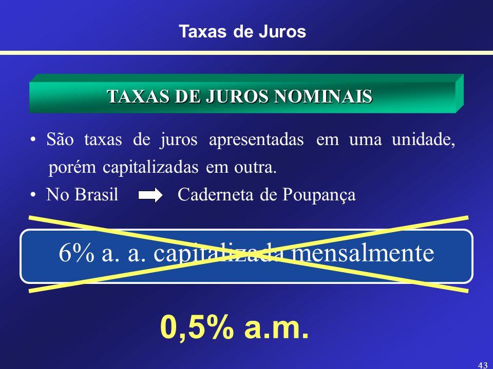 42 TAXAS DE JUROS NOMINAIS Refere-se aquela definida a um período de tempo diferente do definido para a capitalização. Refere-se aquela definida a um