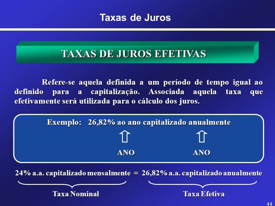 6% a. a. capitalizada mensalmente 43 TAXAS DE JUROS NOMINAIS Taxas de Juros São taxas de juros apresentadas em uma unidade, porém capitalizadas em out