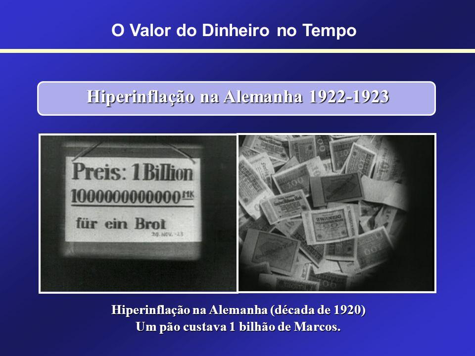 Hiperinflação na Alemanha 1922-1923 Entre agosto de 1922 e novembro de 1923 a taxa de inflação alcançou 1 trilhão por cento.