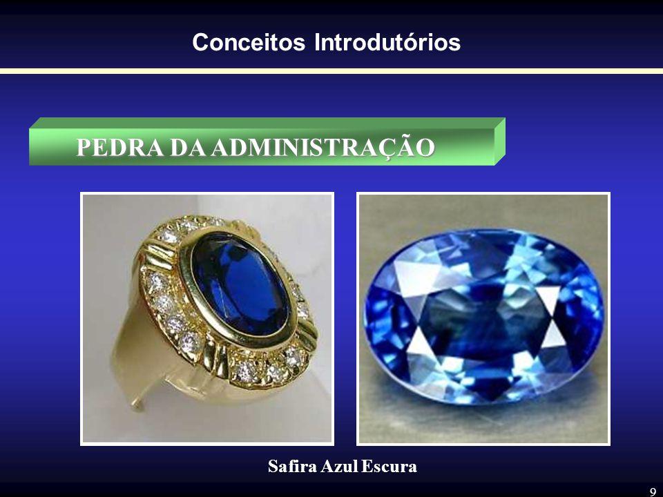 8 Conceitos Introdutórios PEDRA DA ADMINISTRAÇÃO A pedra do Administrador é a safira azul escura, cor que identifica as atividades criadoras, por meio
