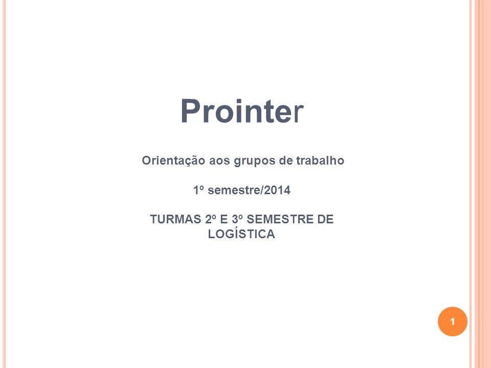 1 Prointer Orientação aos grupos de trabalho 1º semestre/2014 TURMAS 2º E 3º SEMESTRE DE LOGÍSTICA