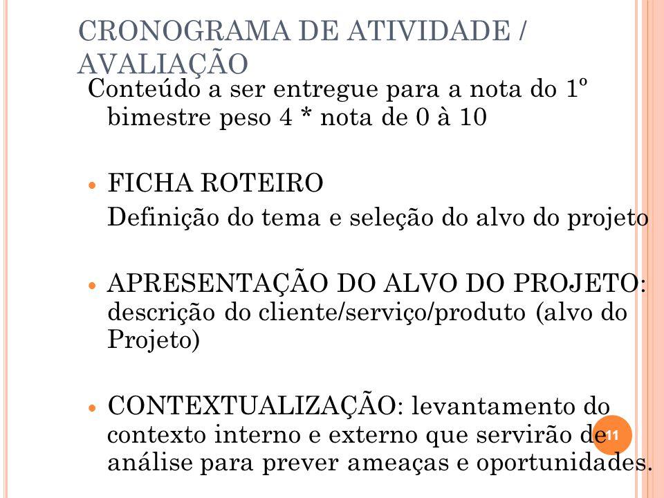 CRONOGRAMA DE ATIVIDADE / AVALIAÇÃO Conteúdo a ser entregue para a nota do 1º bimestre peso 4 * nota de 0 à 10 FICHA ROTEIRO Definição do tema e seleção do alvo do projeto APRESENTAÇÃO DO ALVO DO PROJETO: descrição do cliente/serviço/produto (alvo do Projeto) CONTEXTUALIZAÇÃO: levantamento do contexto interno e externo que servirão de análise para prever ameaças e oportunidades.