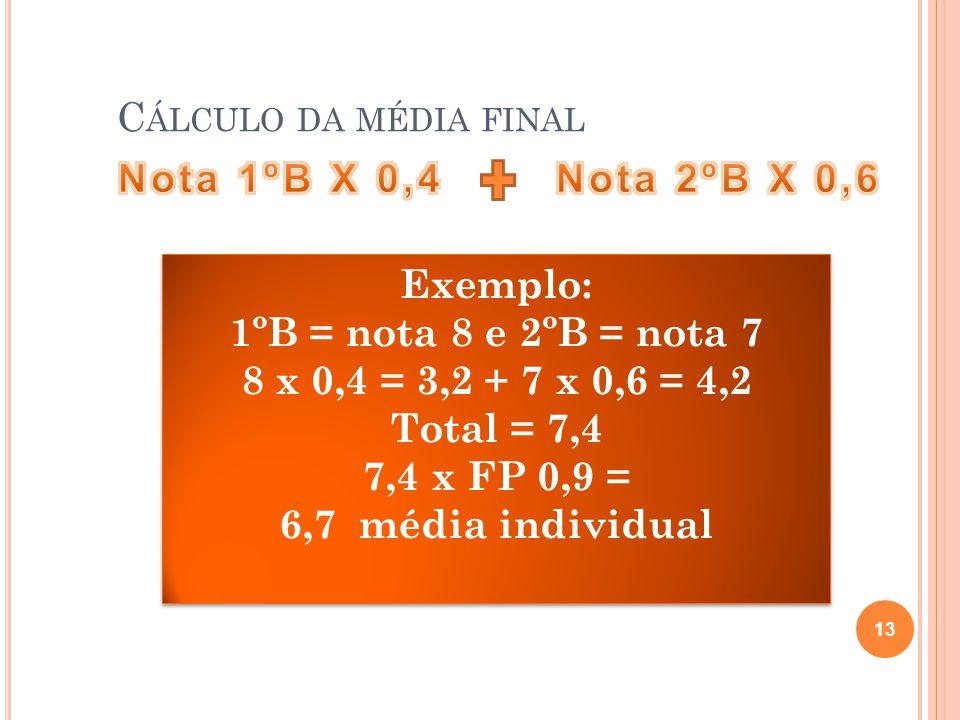C ÁLCULO DA MÉDIA FINAL 13 Exemplo: 1ºB = nota 8 e 2ºB = nota 7 8 x 0,4 = 3,2 + 7 x 0,6 = 4,2 Total = 7,4 7,4 x FP 0,9 = 6,7 média individual Exemplo: 1ºB = nota 8 e 2ºB = nota 7 8 x 0,4 = 3,2 + 7 x 0,6 = 4,2 Total = 7,4 7,4 x FP 0,9 = 6,7 média individual
