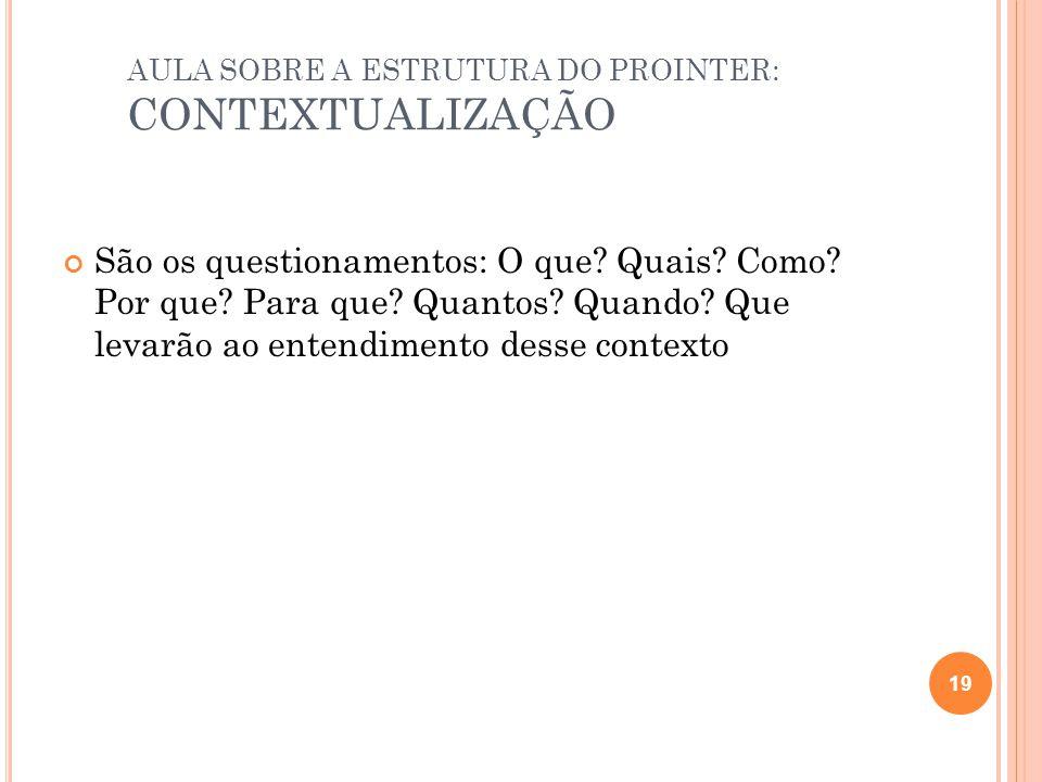 AULA SOBRE A ESTRUTURA DO PROINTER: CONTEXTUALIZAÇÃO São os questionamentos: O que.