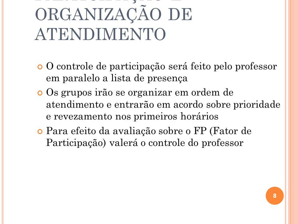 CONTROLE DE PARTICIPAÇÃO E ORGANIZAÇÃO DE ATENDIMENTO O controle de participação será feito pelo professor em paralelo a lista de presença Os grupos i