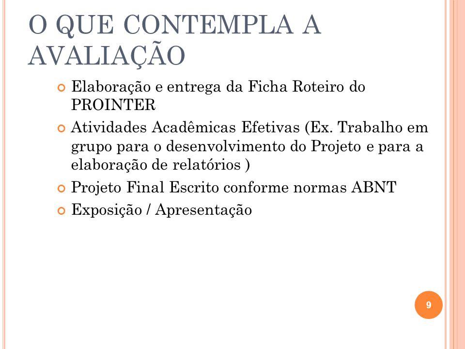O QUE CONTEMPLA A AVALIAÇÃO Elaboração e entrega da Ficha Roteiro do PROINTER Atividades Acadêmicas Efetivas (Ex.