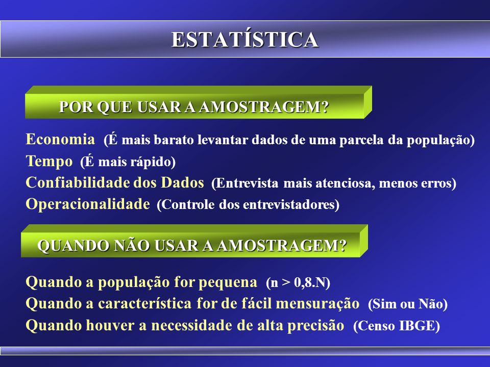 ESTATÍSTICA Pesquisa Mercadológica (Índice de satisfação na população) Pesquisa Eleitoral (Percentagem de votos para cada candidato) Perfil Socioeconô