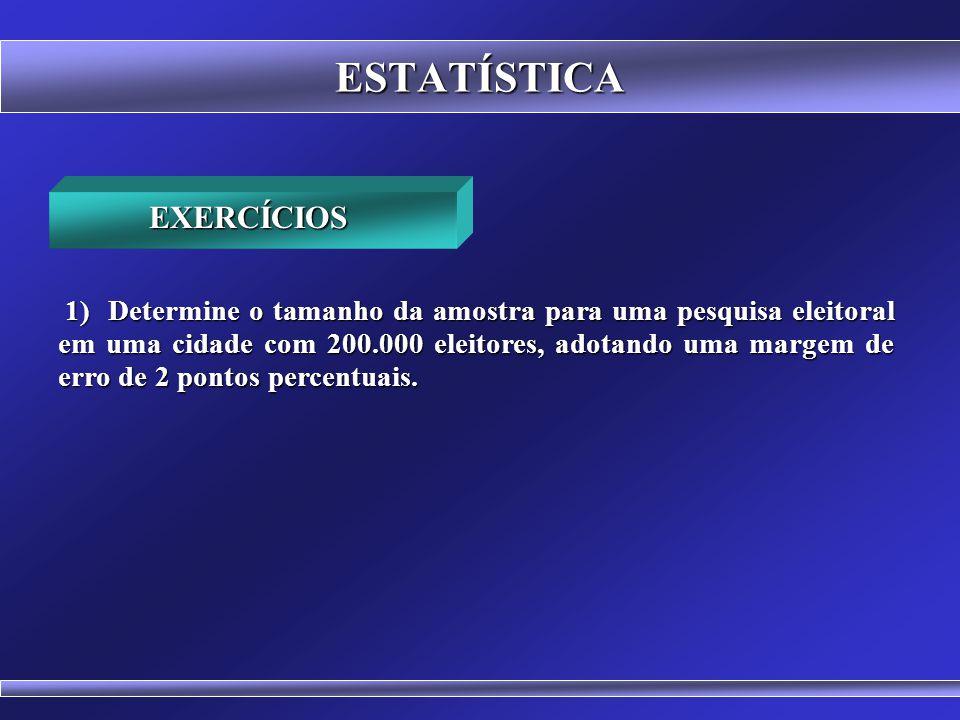 ESTATÍSTICA Relação entre o tamanho da população e o tamanho da amostra RELAÇÃO ENTRE (n) E (N) n N 600 500 400 300 200 100 0 0 500 1000 1500 2000 250