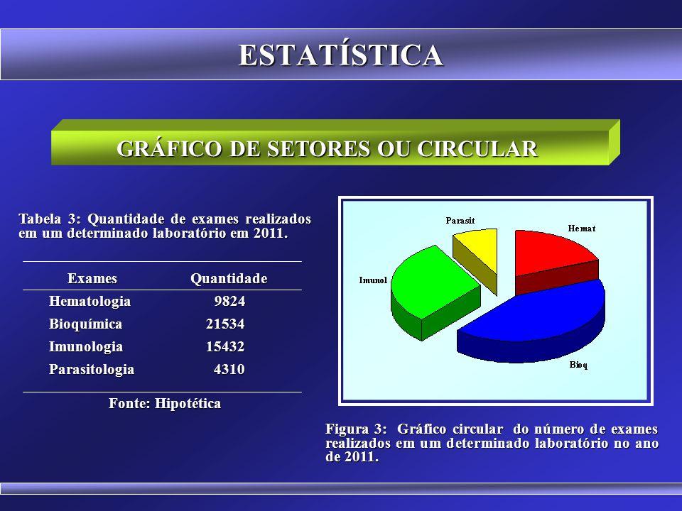 ESTATÍSTICA GRÁFICO DE BARRAS HORIZONTAL Figura 2: Gráfico em barras horizontais do número de exames realizados em um determinado laboratório no ano d