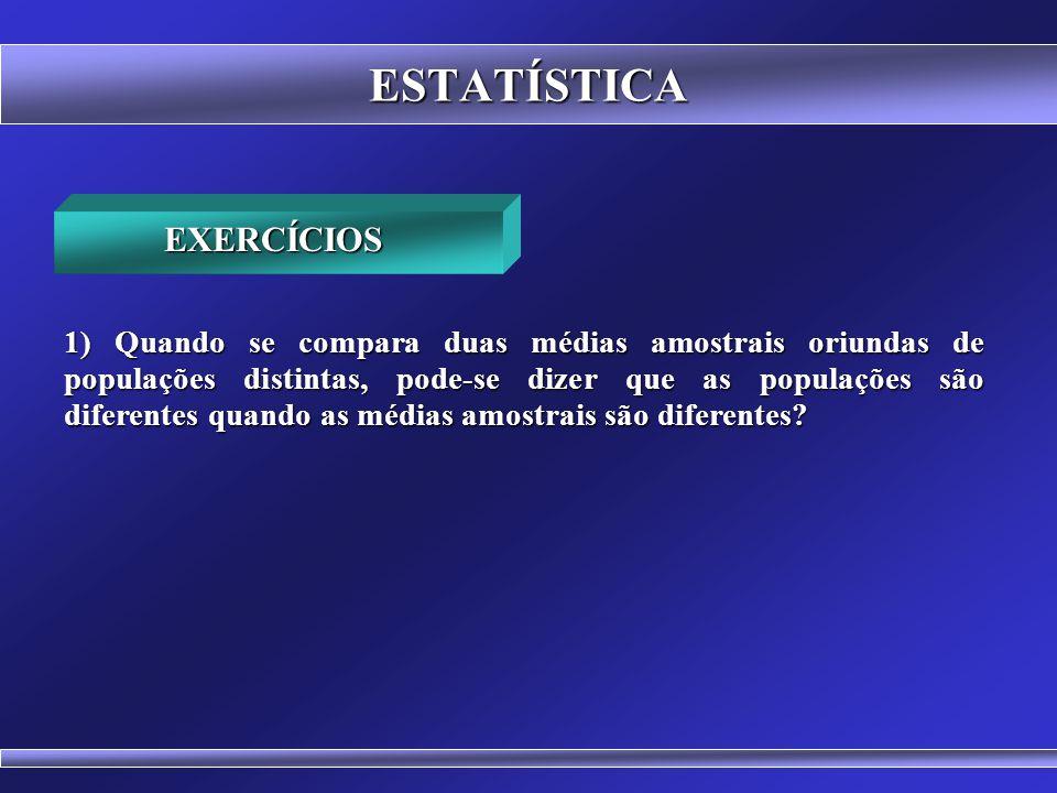 ESTATÍSTICA COMPARAÇÃO ENTRE INTERVALOS DE CONFIANÇA IC (95%) Faculdade Z IC (95%) Faculdade Z 1,7387m 1,7613m 1,7387m 1,7613m x = 1,75m x = 1,75m IC