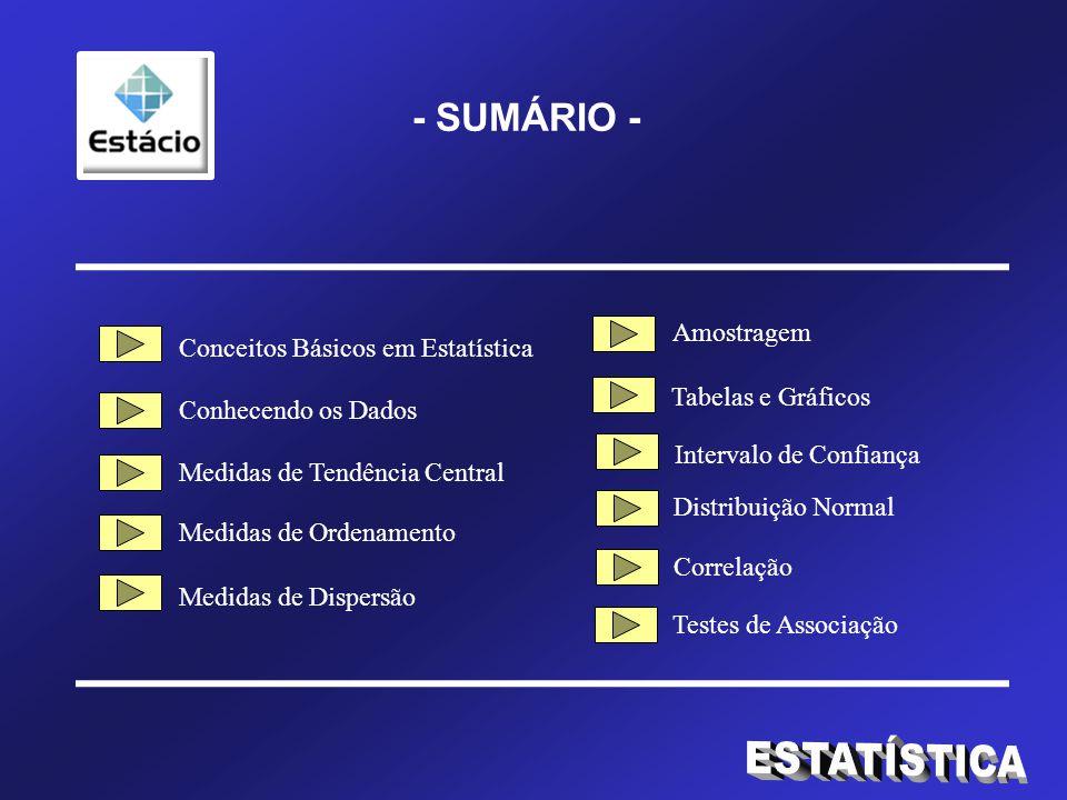 - SUMÁRIO - Conceitos Básicos em Estatística Conhecendo os Dados Medidas de Tendência Central Medidas de Ordenamento Medidas de Dispersão Tabelas e Gráficos Intervalo de Confiança Amostragem Distribuição Normal Correlação Testes de Associação