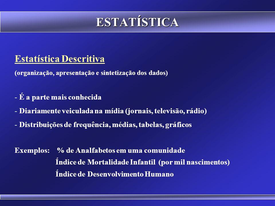 ESTATÍSTICA Amostragem e Planejamento de Experimentos (coleta dos dados) - É o processo de escolha da amostra - É o início de qualquer estudo estatíst