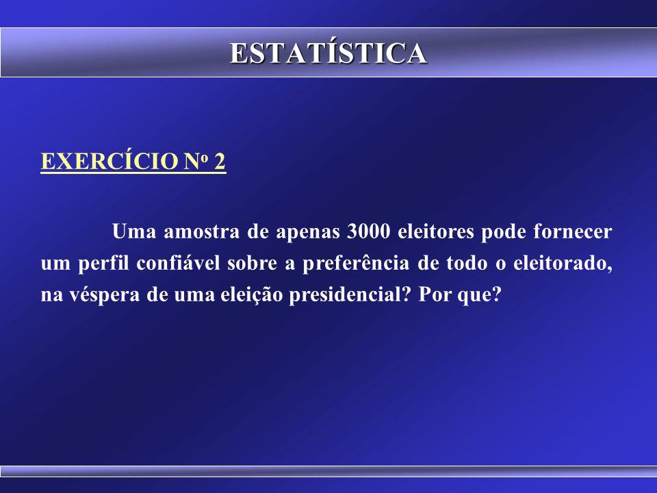 ESTATÍSTICA EXERCÍCIO N o 1 Em uma cidade de 500.000 habitantes onde 45% das pessoas têm título de eleitor, realizou-se uma pesquisa eleitoral com 200