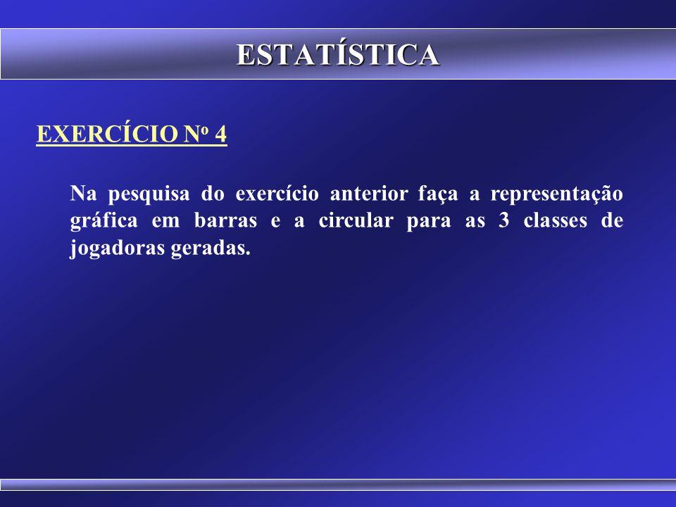ESTATÍSTICA EXERCÍCIO N o 3 Em uma pesquisa com jogadoras de basquete foram coletados os seguintes pesos corporais em quilogramas: 65 66 62 66 63 61 6
