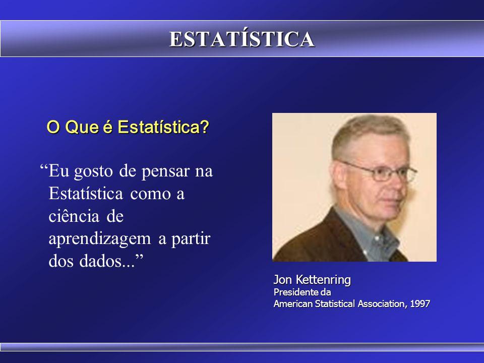 ESTATÍSTICA Dados Nominais (Sexo, Raça, Cor dos Olhos) Dados Ordinais (Grau de Satisfação) Dados Numéricos Contínuos (Altura, Peso) Dados Numéricos Discretos (Número de Filiais) Estatísticas aplicadas em alguns tipos de dados não podem ser aplicadas a outros.