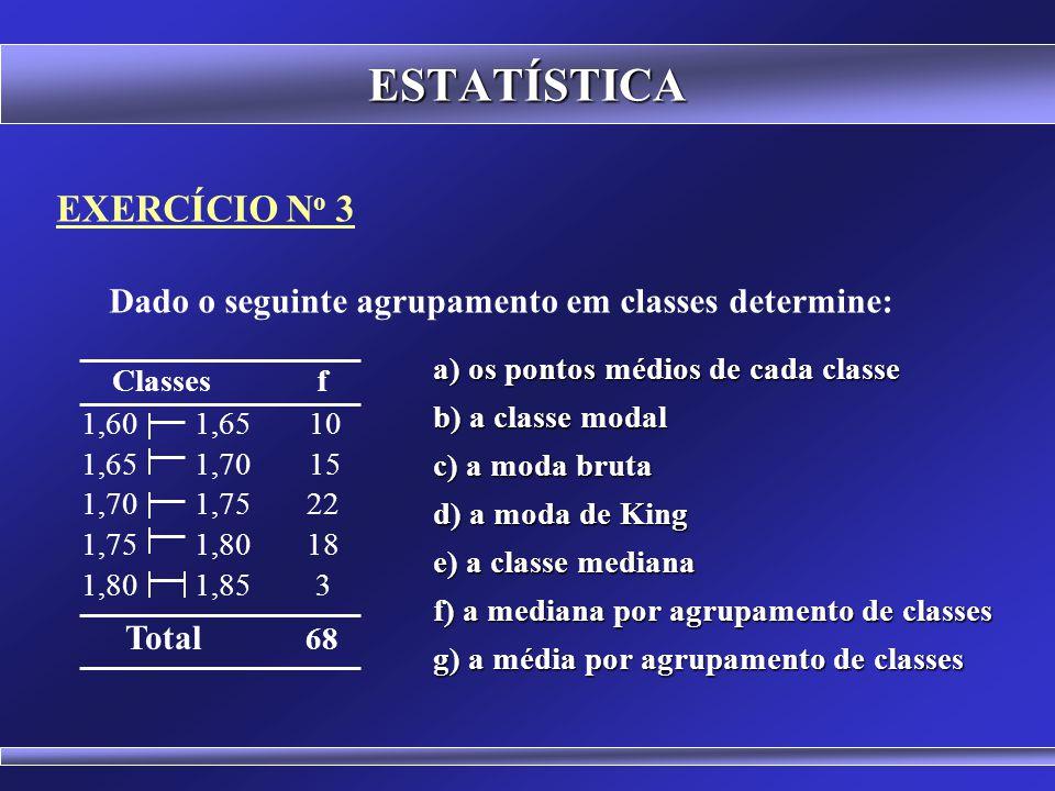 EXERCÍCIO N o 2 Determine o menor valor, o maior valor, a média, a mediana e a moda para o seguinte conjunto de dados ESTATÍSTICA 12 32 54 17 82 99 51