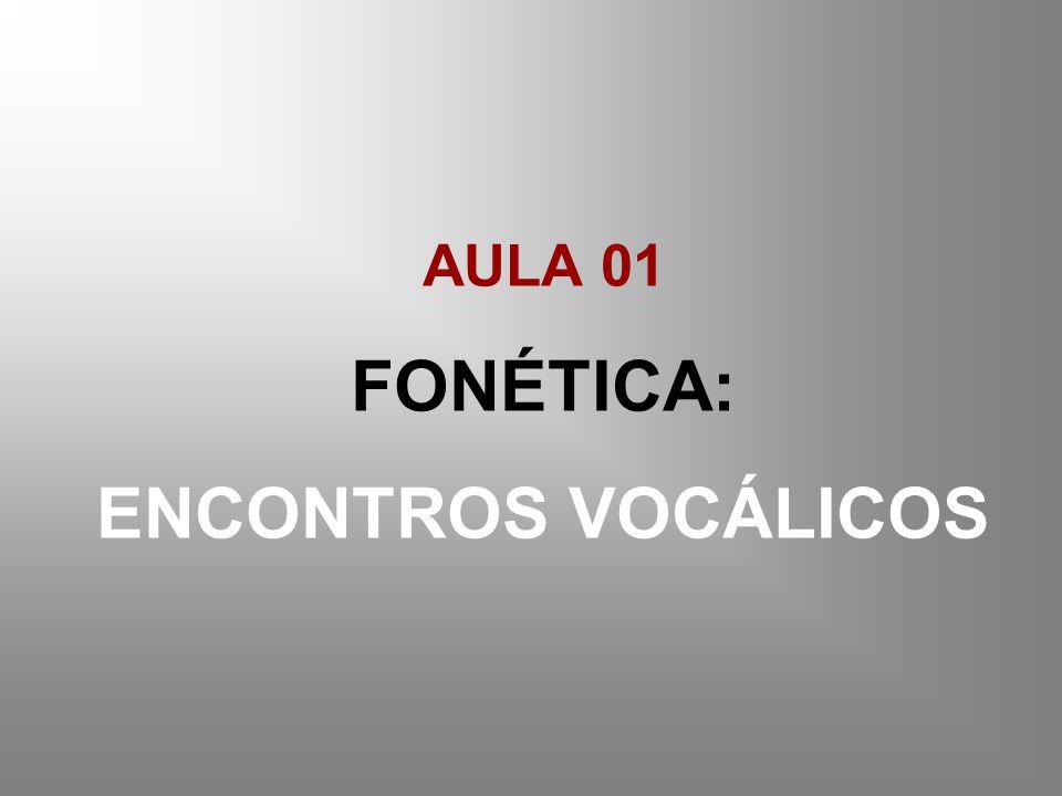 AULA 01 FONÉTICA: ENCONTROS VOCÁLICOS
